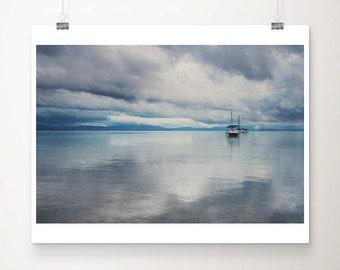 Lake Tahoe photograph boat photograph landscape photograph mountains photograph boat print nautical decor California art