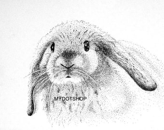 Instant Download of Rabbit Pointillism Drawing