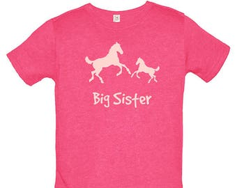 Big Sister Shirt Horse Pair Birthday Girl T Shirt Pony Horses Tee - Cowgirl Top - Kids Tshirt - Gift Friendly - PolyCotton Blended Tee