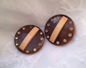 Vintage celluloid and rhinestone buttons