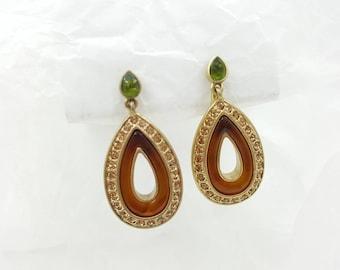 Long Brushed Drops Clip Earrings Liz Claiborne Rhinestones Enamel