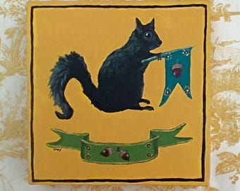 Original Painting of a Black Squirrel with Banners and Acorns
