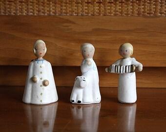 Vintage Angel Figurines - Boy with Dog Figurine - California Pottery Figures - Vintage Chalkware Figurines -Miniature Figurines -Angel Decor