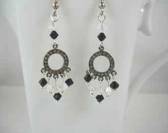 Mini chandelier earrings in crystal and black, small chandelier earrings with Swarovski crystals