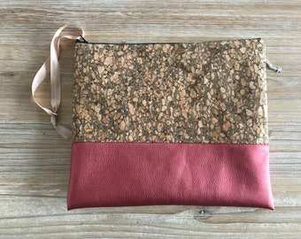 Bi material Cork and rust leather zippered pouch