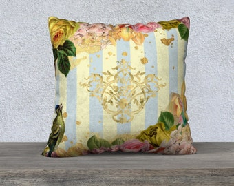 Yellow and Blue Stripe with Vintage Flowers, Bird Cushion Cover-French Country-Throw Pillow Covers-Accent Pillow-Big Pillows-Sofa Pillows-