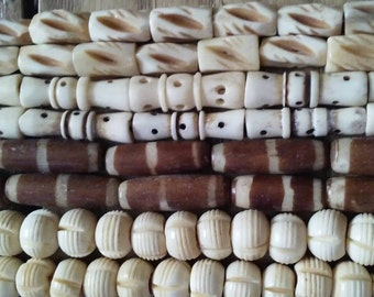 Four Strands Assorted Vtg Bone Beads Hand Carved Bone Dyed Round Hair Pipe Half Inch One Inch Jewelry Supply Assortment #3BB Handmade beads