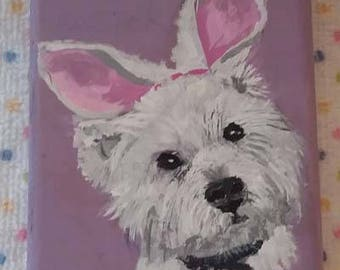 Easter bunny, Easter puppy,  small portrait, magnet. Easter decoration ,small animal portrait,art trading card,collectible art,small art,