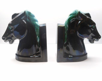 Vintage Horse Bookends, Blue Mountain Pottery Horses
