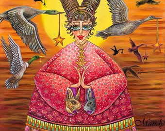 "She Wished Upon Every Star To Always Be A Safe Haven - 8x10"" ART PRINT of a nurturing woman whose basking in sunset amidst a flock of geese"