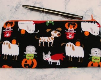 Pencil Zipper Pouch Bag Dogs in Costumes Zip Pens Makeup Cosmetic Contrasting Lining Orange Dot Not Just for Halloween Purse Organizer
