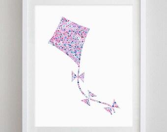 Kite Floral Watercolor Art Print - Kappa Alpha Theta