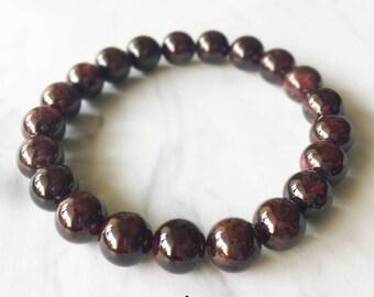 Garnet Bracelet, Garnet, Red Garnet, Crystal Bracelet, Gemstone Beaded Bracelet, Garnet Jewelry, Chakra Jewelry, Beaded Bracelets, 8mm