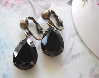 Stella -Estate Style Black Clip On Earrings - Created with crystals from Swarovski®  Birthday gift - Australian seller