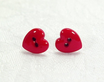 Red Heart Button Stud Earrings With Silver-Plated Posts, Romantic Gift For Her