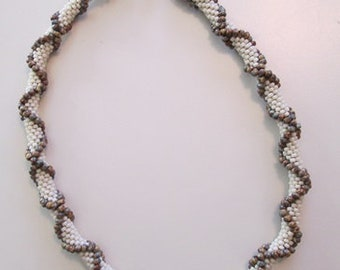 Bead Crochet Necklace with textural crisscross pattern