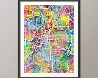 Kansas City Map, Kansas City Missouri City Map, Art Print (2951)