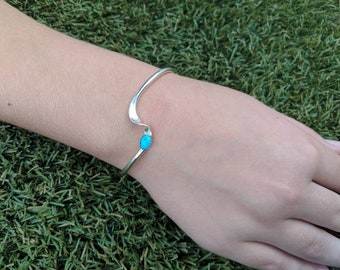 Sterling Silver Twisted Cuff with Turquoise Stone
