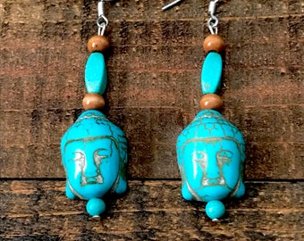 Blue buddha earrings