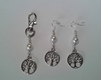 Earrings + bag tree of life with Pearl charm