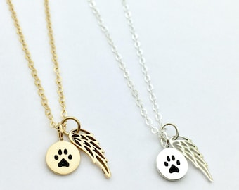 Pet Memorial Gift, Loss of Dog Necklace, Cat Memorial, Paw Print Angel Wing Gold or Silver, Dainty Pet Loss Gift, Fur Baby Memory Necklace