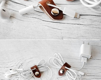 iPhone Cord Organizer, Stocking Stuffers Leather Travel Tech Accessories, 2017 Lightning to 3.5mm Headphones Jack Dongle Cord Keeper Holder