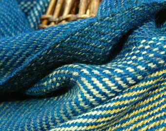 Generous seascape cowl handwoven in turquoise, sand and white Alpaca and Shetland wool