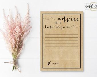 Bridal Shower // 5 X 7 Craft Paper Advice Cards // DIGITAL PDF Copy