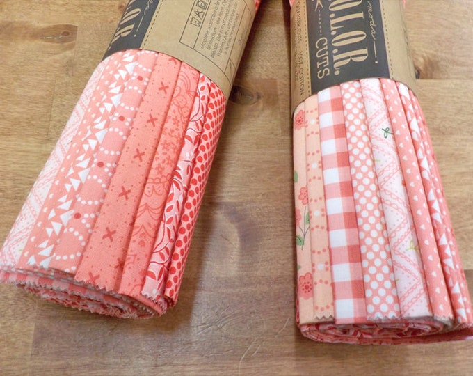 Color Cuts by Moda Fabrics...Daybreak bundle, 12 fat quarters, factory cut, pink and coral bundle