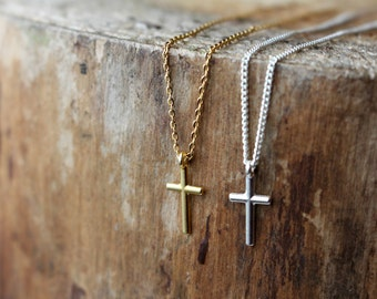 Cross necklace, tiny cross necklace, small cross necklace, Goddaughter gift, Baptism gift, Communion gift, Confirmation gift, Christian gift