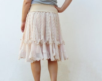 Dreamy Lace Skirt Vintage Crochet Lace skirt Preloved fabric Clothing size small 6/8 EU size 36/38