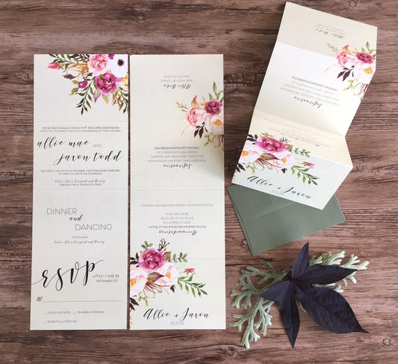 Wedding Invitation Suite Calligraphy Modern Accordion Fold