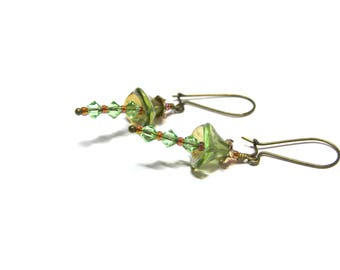 ON SALE Peridot Crystal Earrings Drop Earrings Swarovski Earrings Fairy Earrings Crystal Jewelry Top Selling Jewelry gift for her