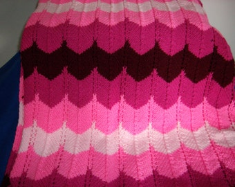 Shades of Dark Pink Knitted Afghan