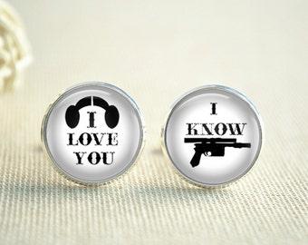 I love you I know Cufflinks,Wedding Cuff links,Groom cufflinks wedding accessory,headset cufflinks,gun cuff links,photo jewelry (XK099)