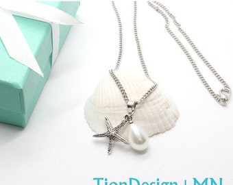 Mother's Day Sale Starfish Pearl Charm Necklace ~ Pearl Pendant~ Starfish charm Necklace~ Love Beach Jewelry