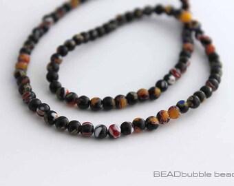 4mm Black Millefiori Beads Round 35cm Strand (approx 95 beads) MIL021