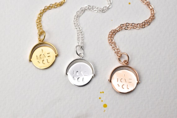 Hidden message pendant necklace i love you spinning charm aloadofball Image collections