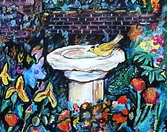 Wall Art - Original Art - Oil Pastel - Yellow Finch - Leah Reynolds