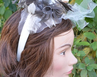 feather hair piece Natural feather plume headband fascinator with cream netting