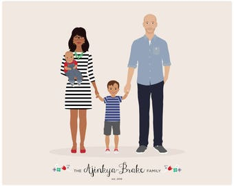 Mothers Day portrait, Custom Family Portrait, personalized portrait