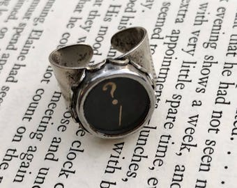 Typewriter Key Ring, Question Mark Key Ring, Steampunk Vintage Assemblage Ring, Quirky Ring, Punctuation Ring, Typewriter Key Jewelry
