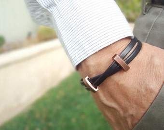 Tohi (Health/Peace) - Free Shipping. Men's Leather Bracelet: Black Genuine Leather, Copper Sliders with Magnetic Clasp.