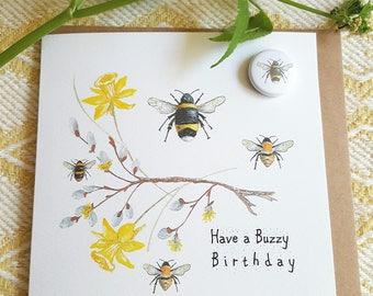 Bee badge card. Bee birthday card. British bee card. Bumblebee card. Card with a bumblebee. birthday card with a badge. bee badge. funnycard