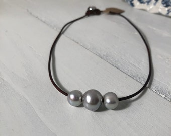 Triple Gray Freshwater Cultured Pearl Necklace