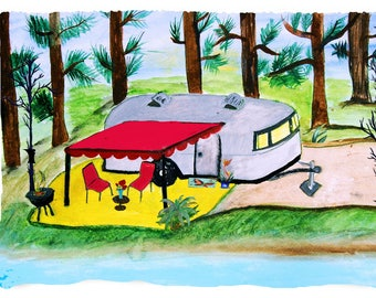 Air stream retro 5th wheel camper by the lake camper throw blanket from my original art.