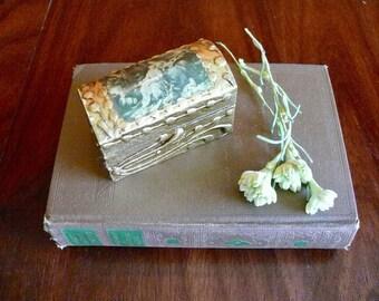 Florentine Domed Wood Stamp Box, Florentine Gold Gilt Tole Trinket Box, Garden Scene, Made in Italy, Vintage Desk Home Decor