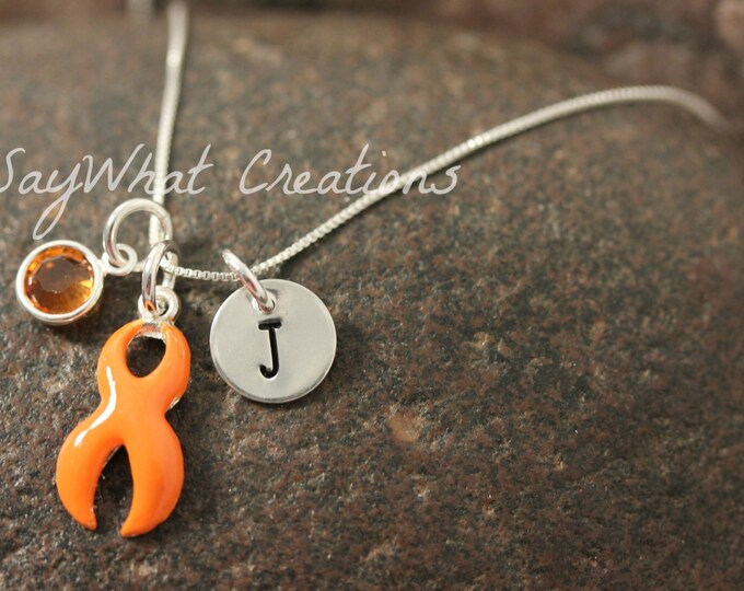 Awareness Ribbon Necklace ORANGE RIBBON Leukemia Awareness with hand stamped sterling silver initial and birthstone necklace
