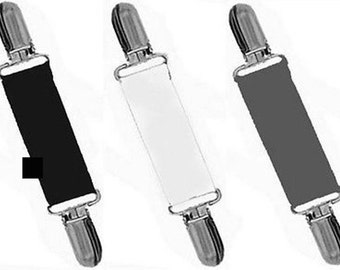 DRESS CLIPS - Set of Charcoal..White..Medium Gray - Gold or Silver Clips - Cinch Back of Clothing
