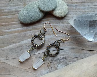 Quartz Crystal Nugget Raw Stone Dangle Earrings, Bronze Elements, Gold plated wires.  Pierced Ears.